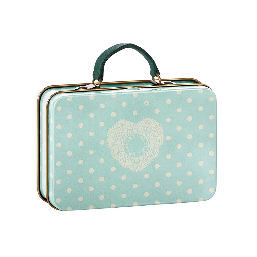Maileg | Metal Suitcase Mint Dots