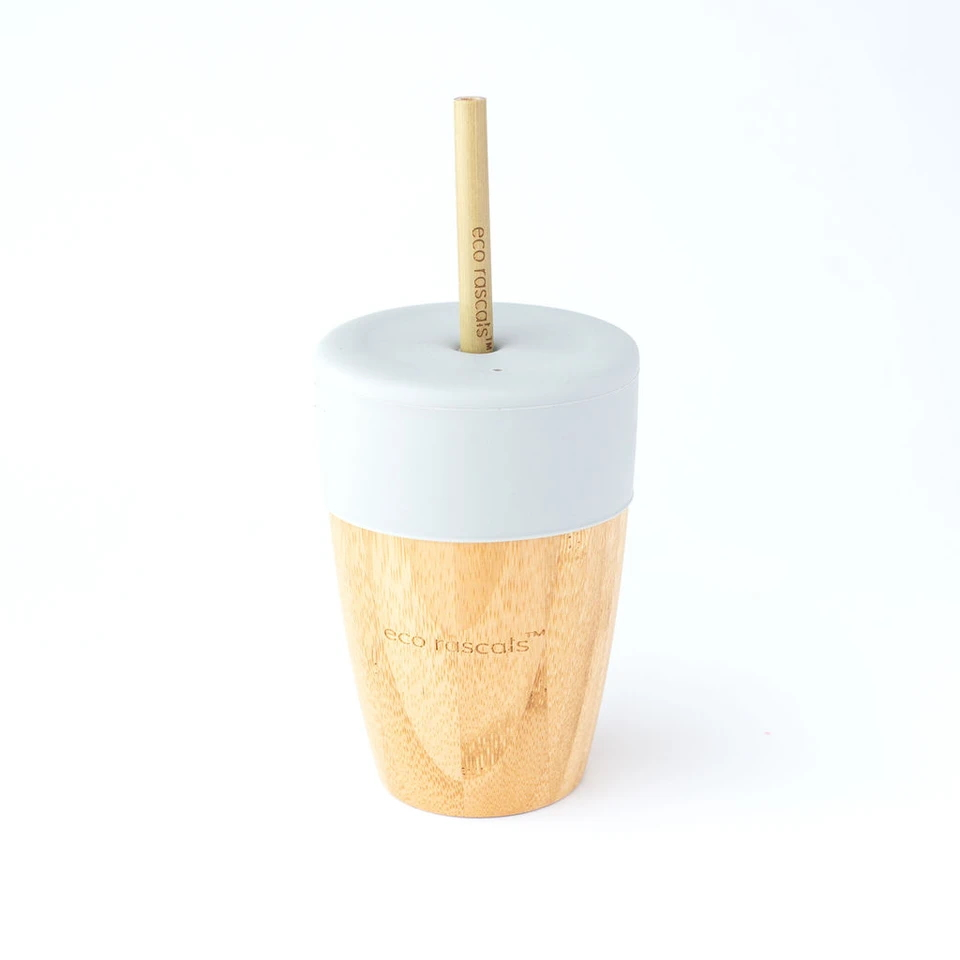Copo + 2 Palhinhas Bamboo | 240 Ml | Cinza